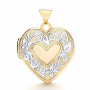 9ct gold Yellow and white gold heart shaped Family locket